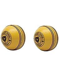 WCC CW Interni in Pelle Gialla 4PC Palle da Cricket Mano Stitch Match Grade Sport in Confezione da 2Ideale per Professionisti/Uomini/Senior