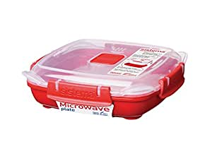 Sistema Microwave Plate with Removable Steaming Tray, Red/Clear, 440 ml