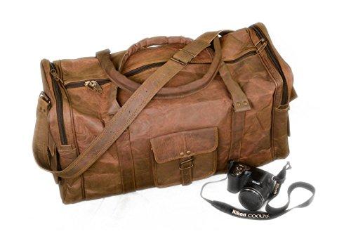 vintage-in-pelle-pelle-di-capra-duffle-borsa-da-viaggio-bagagli-brown-marrone-261880717545