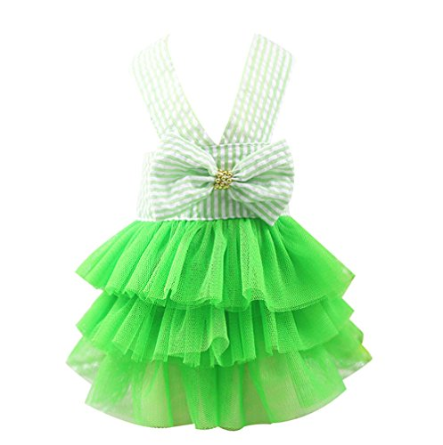 e Prinzessin Kleid mit Schleife Gestreifte Hund Rock Prinzessin Spitze Kleidung Frühling Sommer Kostüm Bekleidung für Kleinen Hunde ()
