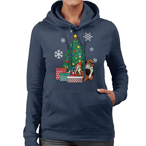 Cloud City 7 Chip N Dale Around The Christmas Tree Women's Hooded Sweatshirt