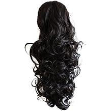 PRETTYSHOP Clip sur l'extension postiche Pièce de cheveux ondulé Look naturel fibres résistant à la chaleur 55cm noir brun # 3 PH19