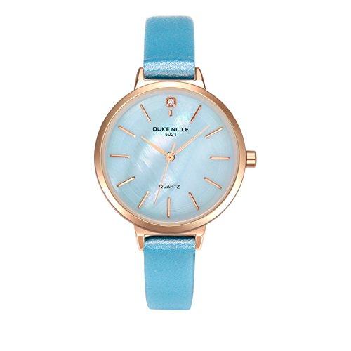 Damen Uhren, Elegante Damen Lederband Armbanduhren mit Roségold Edelstahlgehäuse Damenuhr Wasserdicht Quarzuhr Ziffer Blattfar be Perlmutt für Hübsche Frau Mädchen-Blau