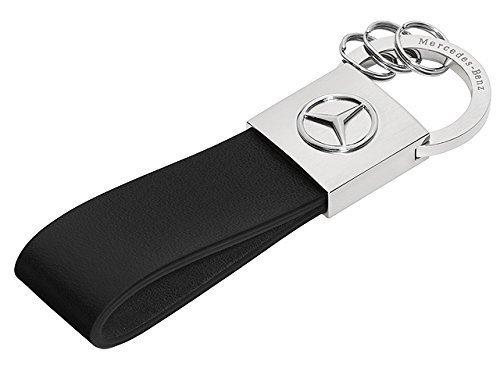 mercedes-benz-portachiavi-seattle-argento-nero-acciaio-inox-pelle-bovina-lucidato