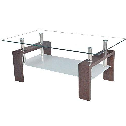 Home Discount Elise Rectangular Glass Coffee Table, Walnut