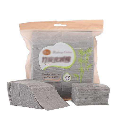 DUOER HOME Gesichtsmake-up Entferner 222 stücke Boxed Bambuskohle Make-Up Wattepads doppelseitige Einweg Gesichtsreinigung Baumwolle Tragbare Make Up Baumwolle Stück (Color : Gray, Größe : 5 * 7cm)