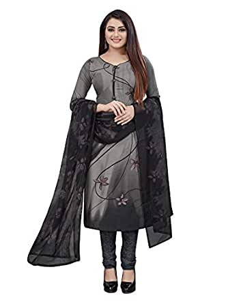 Hanoba Women's Printed Leon Synthetic Dress Material with Dupatta