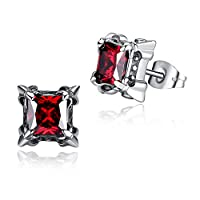 Stainless Steel Vintage Purple Cubic Zirconia Unisex Stud Earrings G1003JZ5