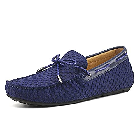 Shenduo Men's Woven Loafers Suede Leather Moccasins Boat & Driving Slip-on Flat Shoes D7166 Blue 9UK 43