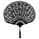 Alcoa Prime Sexy Black Lace Trim Bamboo Folding Hand Fan Pocket Fan Dancing Party Props