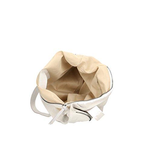 Chicca Borse Borsa a tracolla in pelle 37x37x6 100% Genuine Leather Bianco