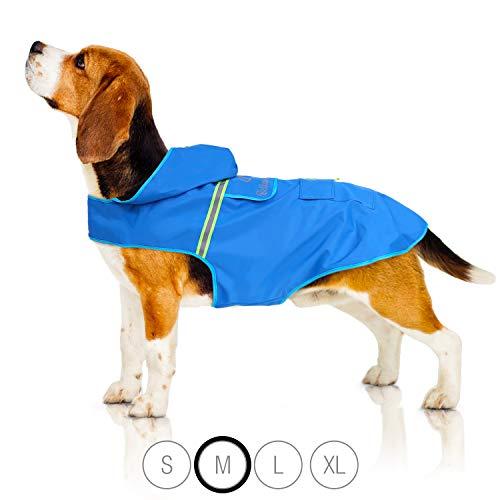Bella & Balu Regenjacke für Hunde, Hunderegenmantel, wasserdichte Hundejacke (M, Blau)