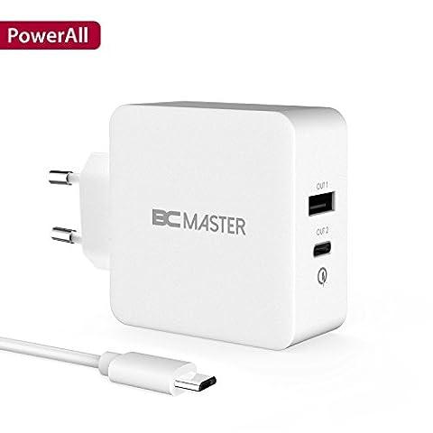 USB-C USB Ladegerät, BC Master Quick Charge 3.0 34.5W 2 Port Schnellladegerät (USB-A+Typ-C Port)für Samsung,Iphone,LG G5,HTC 10,New Macbook,Google Chromebook und Mehr - Weiß(mit USB Kable)