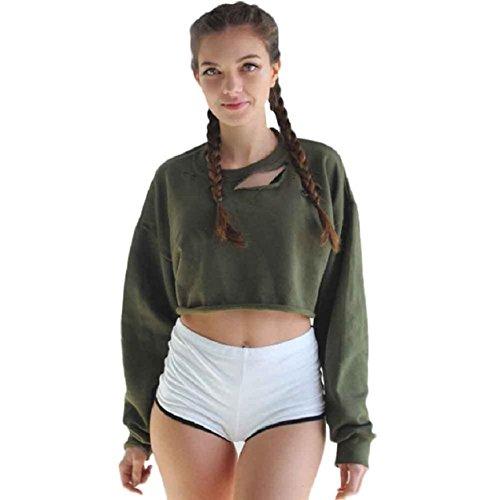 Culater® mujeres Ocasionales flojas de manga larga con capucha de sudadera Jumper Tops Escudo (S, ejercito verde)