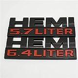 LoveOlvidoD Schwarz Ram Hemi 5,7 Liter Logo Aufkleber Motor Emblem Wasserdichte ABS Typenschild Abzeichen Aufkleber für Dodge RAM