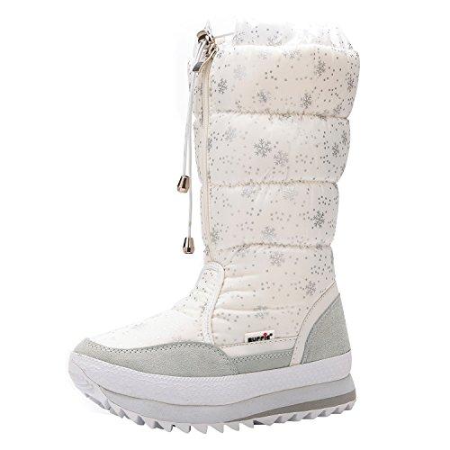 Sibba Schneestiefel Kniestiefel wasserdichte Stiefel gefütterte mit rutschfester Sohle (EU38.5(245mm)/CN39, weiße Schneeflocken)