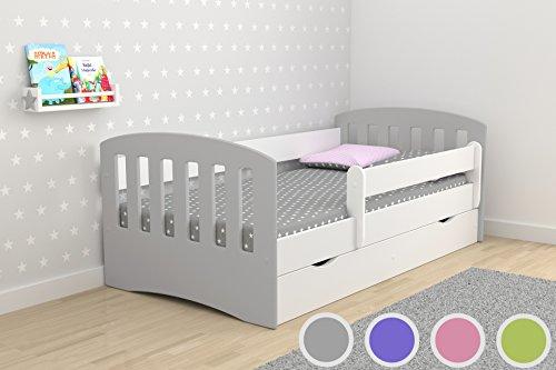 *Kocot Kids Kinderbett Jugendbett 80×160 80×180 Grau mit Rausfallschutz Matratze Schubalde und Lattenrost Kinderbetten für Mädchen und Junge – Mix I 160 cm*
