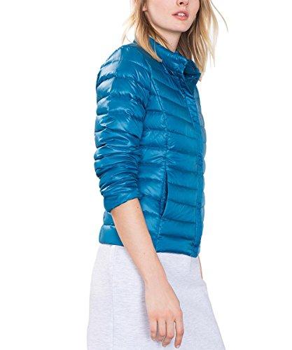 edc by ESPRIT Damen Jacke mit Echtdaune, Blau (Petrol Blue 450), 36 (Herstellergröße: S)
