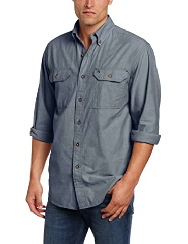 Carhartt .S202.499.S008 L/S Fort Solid Long Sleeve Shirt, Colour: Denim Blue Chambray, Size: