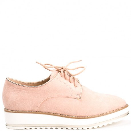 Ideal Shoes - Derbies effet daim Acalia Rose