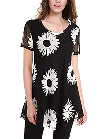 BAISHENGGT Women's Floral Print Mesh V Neck Short Sleeve Flared Swing Tunic Tops Black Floral