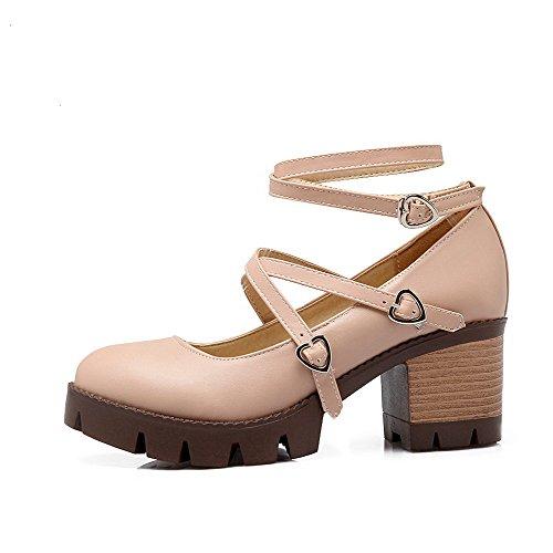 Couleur Chaussures Talon Légeres Rose AgooLar Correct Unie Boucle Femme à Rond wUXa6qP