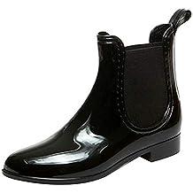 Tenthree Stivali di Neve Impermeabile Donna - Chelsea Wellies Wellington  Gusset Boots Stivaletti Caviglia Piatte Tacco 26c26a90a6d