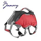 Jamory 2 in 1 Hunderucksack Rucksack Satteltasche Hundebekleidung Schwimmweste Tragetasche Hund Zubehör für Wandern (M, Rot)
