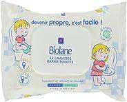 Biolane - Lingettes Papier Toilette jetables - Lingettes humides Bébé & enfant - Hydrate et Nettoie en Dou