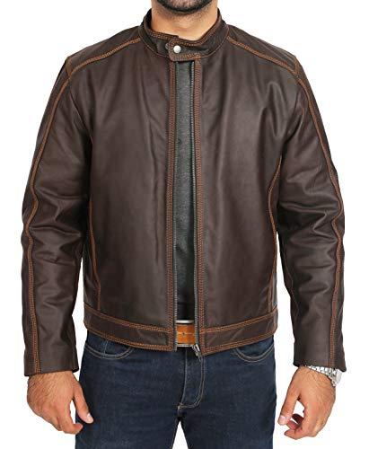 A1 FASHION GOODS Herren Braun Leder Biker-Jacke Normale Passform Gewachstes Rindleder Reißverschluss befestigen Mantel - Kirk (L - EU 50)
