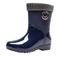 BOMING Women Non-Slip Rain Boots Ladies Warm Snow Boot Flat Outdoor Water Shoes Blue