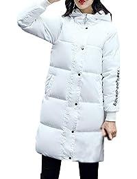 d5913d71ea4c7 Screenes Abrigo Acolchado Largos Invierno Manga Plumas Moda Joven Larga  Elegantes Mujer Hooded Espesar Pluma es Jacket Parka Invierno…