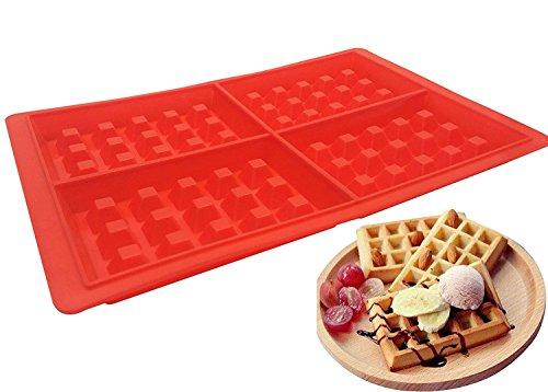 4-cavity Silikon Waffel Form, belgische Waffel Schokolade Candy Seife- und Mikrowelle Spülmaschine Gefrierschrank Sicher,-Ofen Sicher hitzebeständig bis 450°F