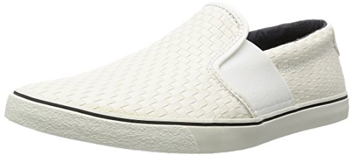 Clarks Gosling Step 26117897 Herren Slip On, weiß (White Fabric), 44 EU