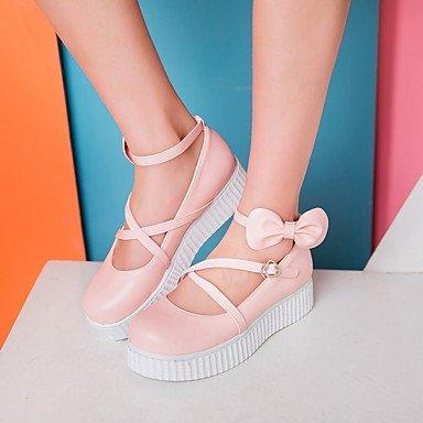 Confortevole ed elegante piatto scarpe donna Appartamenti Primavera Estate Autunno Liane similpelle Casual Liane Bowknot fibbia Nero Bianco Rosa White