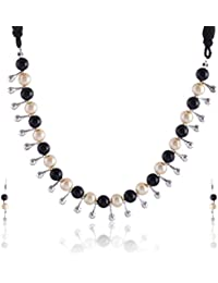 RAI COLLECTION Black And Beige Silver Strand Necklace Set For Women (RAI072)