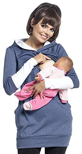 Blue Cowl Neck (2In1 Schwangerschaft Und Stillen Cowl Neck Sweatshirt - Damenmode Multifunktions Pullover-Herbst Und Winter,Blue,XXL)