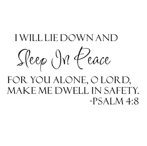 TOOGOO(R) Sleep In Peace Psalm 4:8 Bible Verse Lettering Wall Decal Decor Quote Inspire