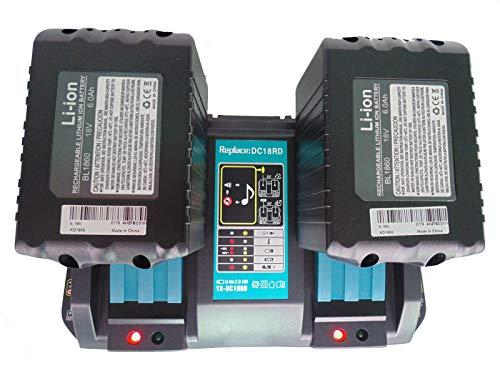 FengBP® - Cargador doble Makita DC18RD DC18RC DC18RA de 4 A con 2 baterías de 18 V 6,0 Ah para cortacésped...