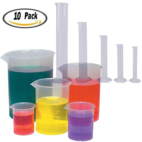(Bestim incuk 5Größen transparent Kunststoff abgestufter Zylinder (102550100250ml) 5Stück Kunststoff Becher Set, 50, 100, 250, 500, 1000ml)