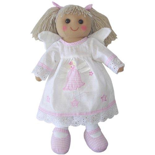 handgefertigt Rag Puppe mit Angel Kleid - Spitze Stoff Trim Doll