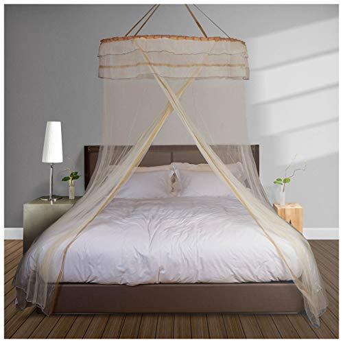 Diples Excel Moskitonetz für Doppelbett, feines Maschenmaterial, Flexibles Stahldach mit 1,2 m Durchmesser Popup mit Hänge-Kit 1.18 inch (H) x 19.6 inch Aprikose