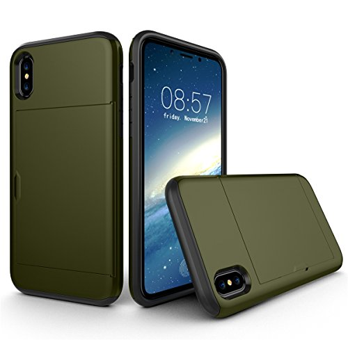 CaseforYou Hülle iphone X Schutz Gehäuse Hülse Shockproof Full-Body Hybrid Combo Snap-On Case Cover Protector with Card Holder Schutzhülle für iphone X Handy (Green) Dark Green
