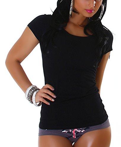 Jela London Damen Basic T-Shirt Slim-Fit Rundhals/V-Ausschnitt Longshirt Kurzarm Einfarbig Black (Rundhals)