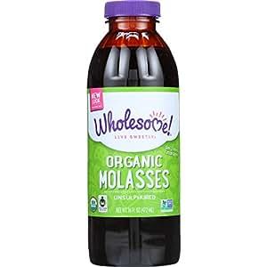 Wholesome Sweeteners Inc., Organic Molasses, Unsulphured, 16 fl oz (472 ml) 2.6 x 2.6 x 7.2 inches