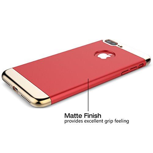 HB-int Spiegel Hülle für iPhone 7 Plus Flip Case Luxus Mirror Handytasche Cover Kristall Transparent PC Hart Schutzhülle Plating Tasche Schale Abdeckung Klapp Protective Etui - Schwarz Rot