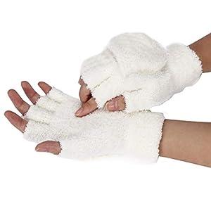 Half Finger Flip Glove, Girls Women Ladies Hand Wrist Warmer Winter Fingerless Gloves Mitten
