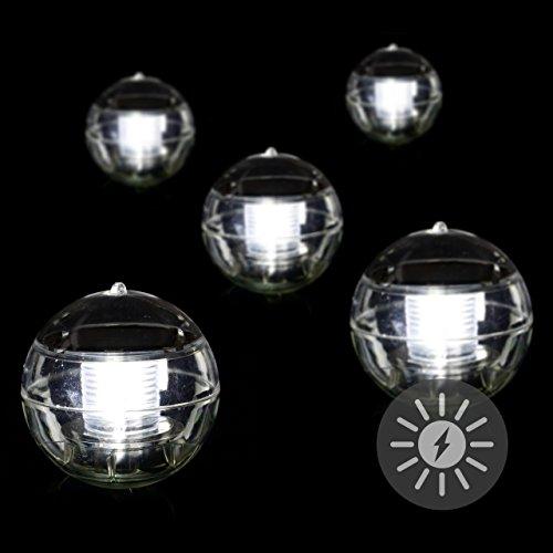 Nexos 5er Set Solar Schwimmkugel 2 LED Weiß Solarlampe Kugel 12 x 12 x 12,5 cm Teichbeleuchtung Solarkugel Dekolicht Solarbeleuchtung