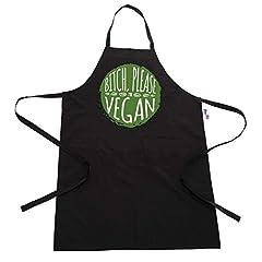 Idea Regalo - Divertente BBQ grembiule novità festa del papà grembiule per uomini B * itch Please I' m vegan