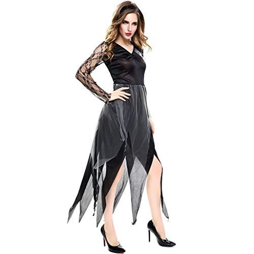 Lomelomme Halloween Damen Halloween Cosplay Mittelalterliches Kleid Kostüm Vintage Langarm Kleid V-Ausschnitt Unregelmäßig Gothic Kleid Lang Schwarz Halloween Party (Kinderbuch Figur Kostüm Für Erwachsene)